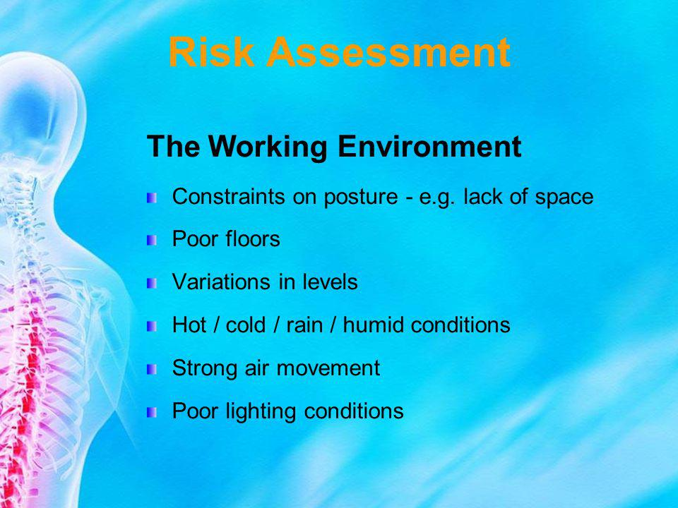 Risk Assessment The Working Environment Constraints on posture - e.g. lack of space Poor floors Variations in levels Hot / cold / rain / humid conditi