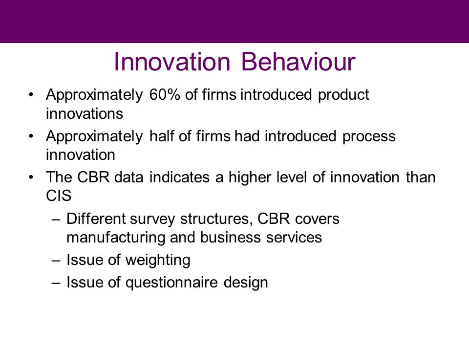 Innovation Behaviour Approximately 60% of firms introduced product innovations Approximately half of firms had introduced process innovation The CBR data indicates a higher level of innovation than CIS –Different survey structures, CBR covers manufacturing and business services –Issue of weighting –Issue of questionnaire design