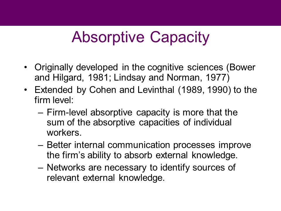 Absorptive Capacity Originally developed in the cognitive sciences (Bower and Hilgard, 1981; Lindsay and Norman, 1977) Extended by Cohen and Levinthal (1989, 1990) to the firm level: –Firm-level absorptive capacity is more that the sum of the absorptive capacities of individual workers.