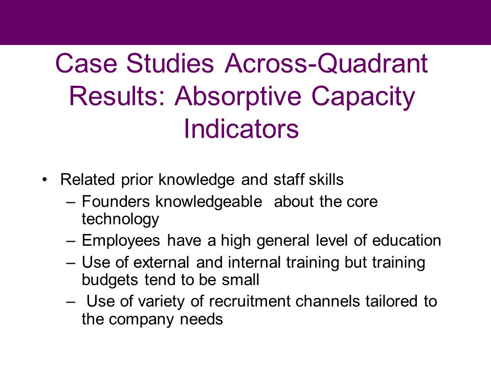 Case Studies Across-Quadrant Results: Absorptive Capacity Indicators Related prior knowledge and staff skills –Founders knowledgeable about the core technology –Employees have a high general level of education –Use of external and internal training but training budgets tend to be small – Use of variety of recruitment channels tailored to the company needs
