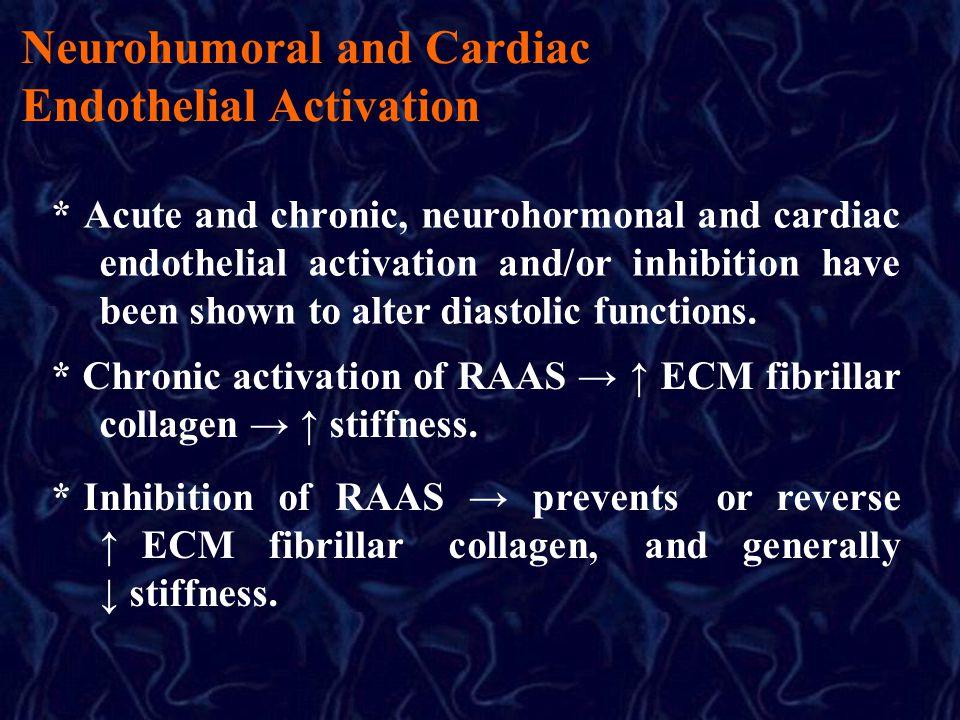 Neurohumoral and Cardiac Endothelial Activation * Acute and chronic, neurohormonal and cardiac endothelial activation and/or inhibition have been shown to alter diastolic functions.