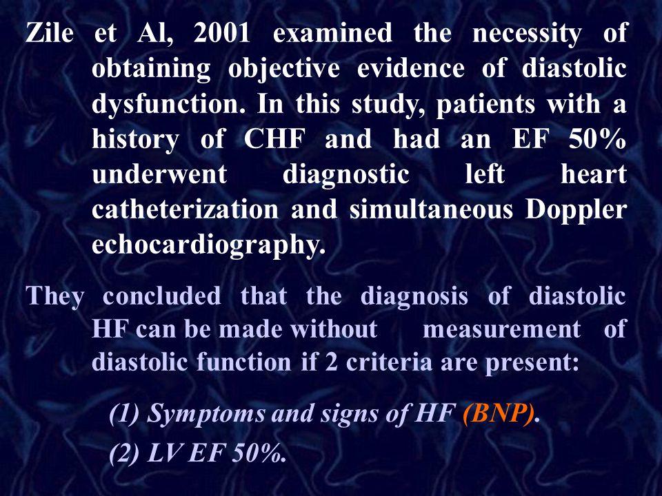 Zile et Al, 2001 examined the necessity of obtaining objective evidence of diastolic dysfunction.