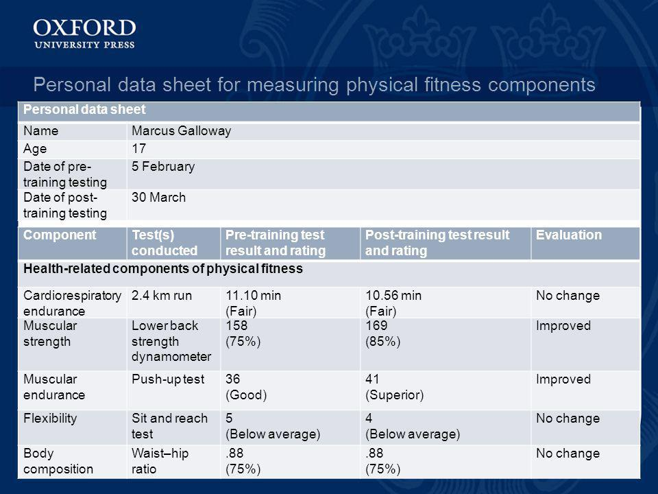 Personal data sheet for measuring physical fitness components ComponentTest(s) conducted Pre-training test result and rating Post-training test result