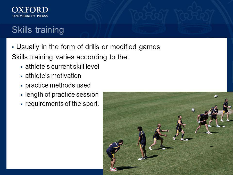 Skills training Usually in the form of drills or modified games Skills training varies according to the: athletes current skill level athletes motivat