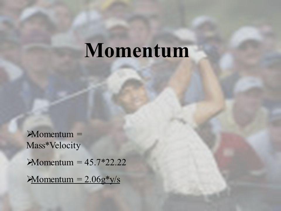 Momentum Momentum = Mass*Velocity Momentum = 45.7*22.22 Momentum = 2.06g*y/s