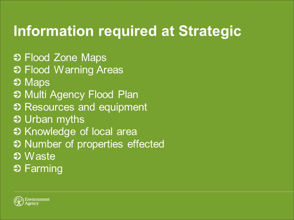 Information required at Strategic Flood Zone Maps Flood Warning Areas Maps Multi Agency Flood Plan Resources and equipment Urban myths Knowledge of local area Number of properties effected Waste Farming
