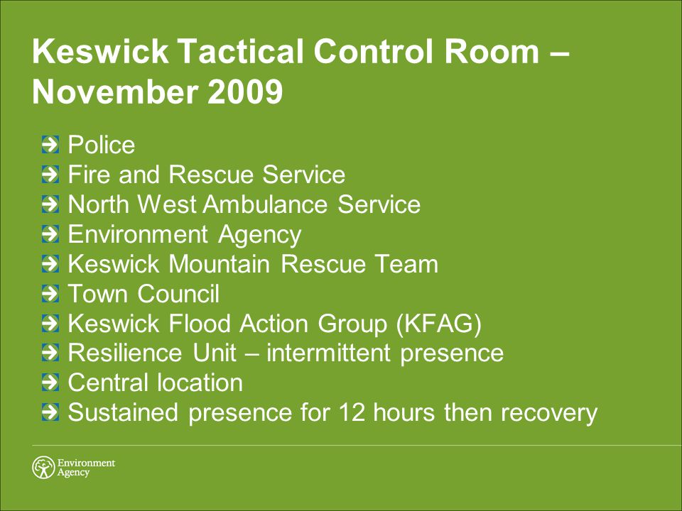 Keswick Tactical Control Room – November 2009 Police Fire and Rescue Service North West Ambulance Service Environment Agency Keswick Mountain Rescue Team Town Council Keswick Flood Action Group (KFAG) Resilience Unit – intermittent presence Central location Sustained presence for 12 hours then recovery