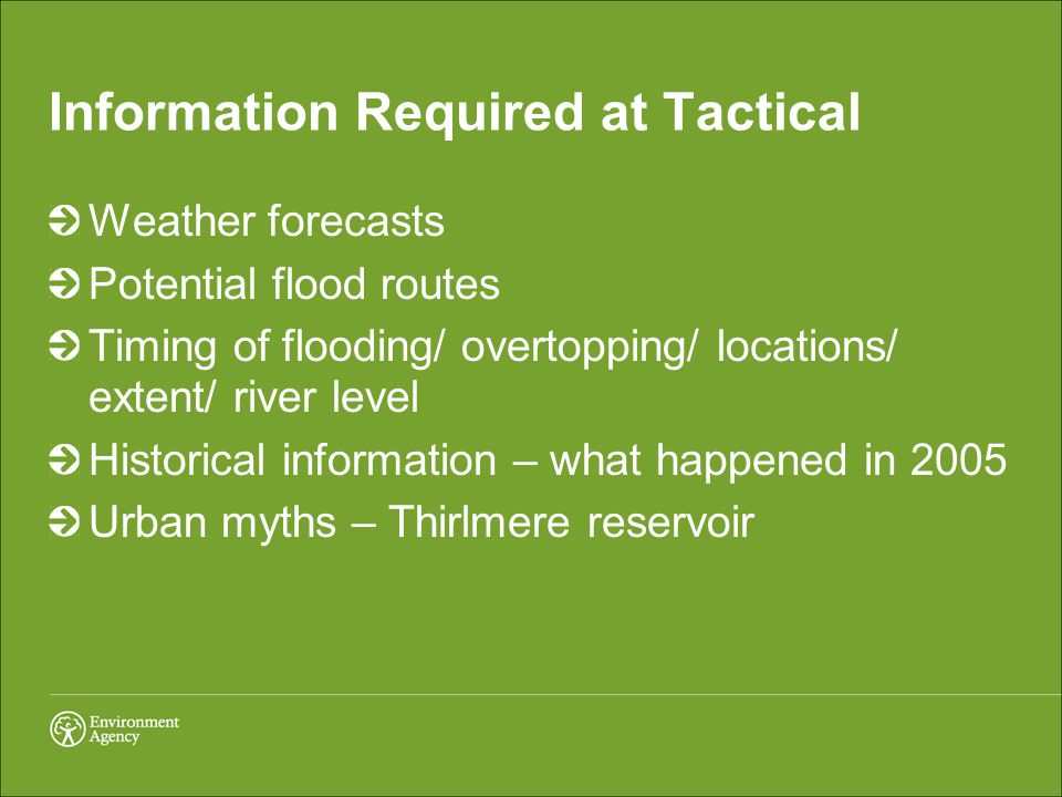 Information Required at Tactical Weather forecasts Potential flood routes Timing of flooding/ overtopping/ locations/ extent/ river level Historical information – what happened in 2005 Urban myths – Thirlmere reservoir