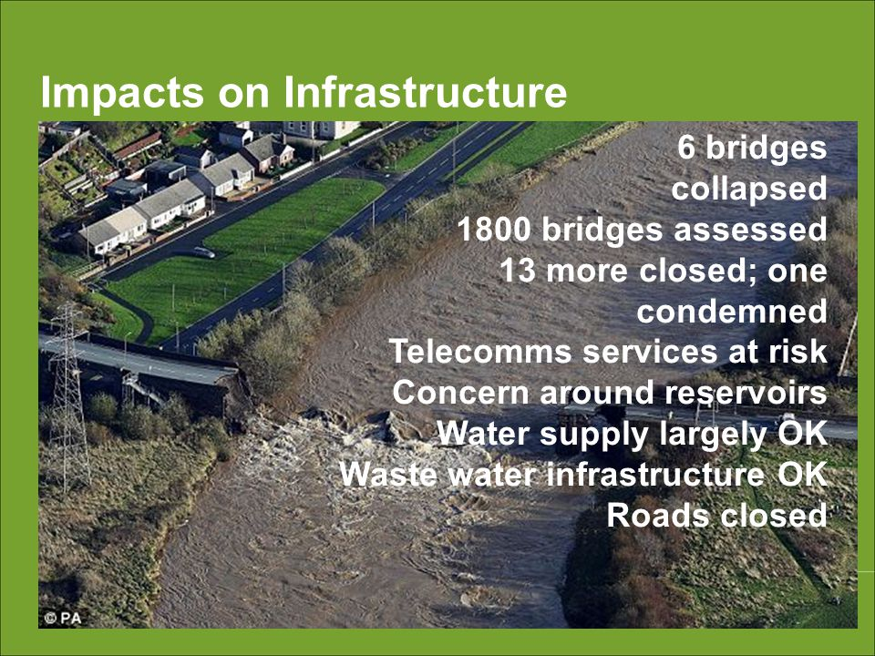 Impacts on Infrastructure 6 bridges collapsed 1800 bridges assessed 13 more closed; one condemned Telecomms services at risk Concern around reservoirs Water supply largely OK Waste water infrastructure OK Roads closed