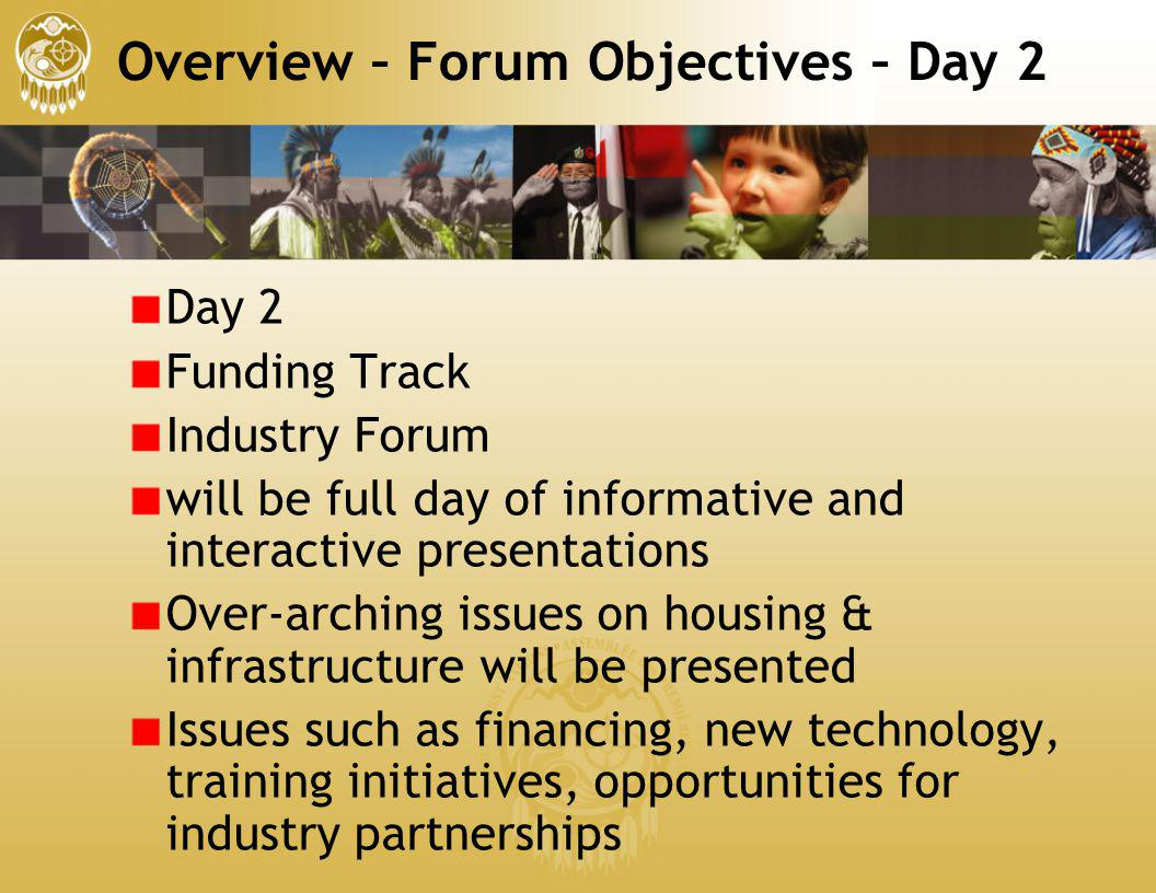 Overview – Forum Objectives – Day 2 Day 2 Funding Track Industry Forum will be full day of informative and interactive presentations Over-arching issu