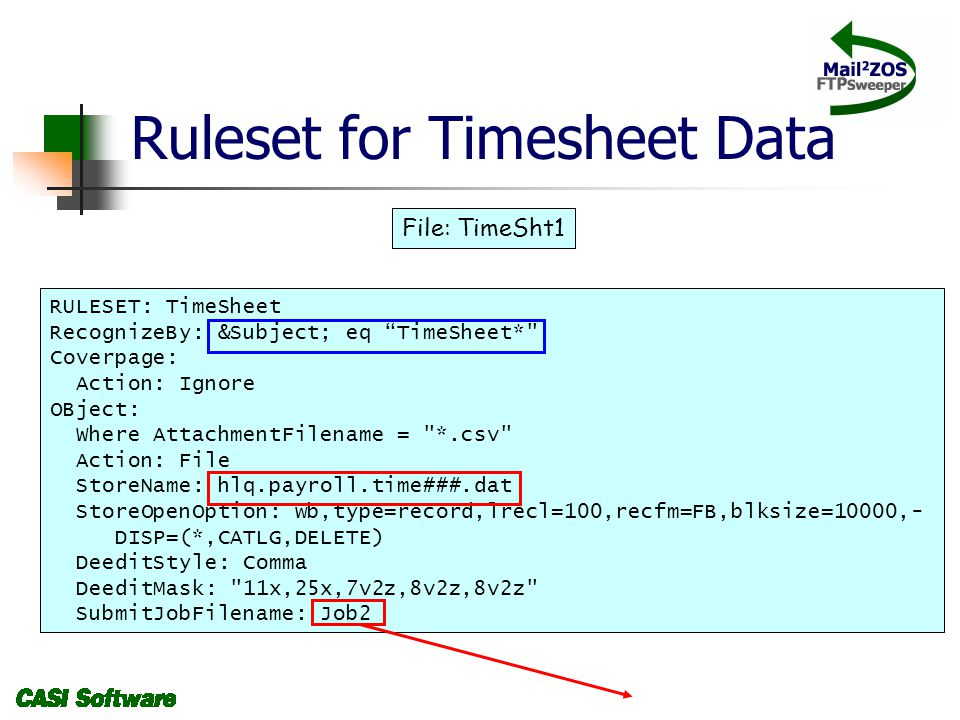 Ruleset for Timesheet Data RULESET: TimeSheet RecognizeBy: &Subject; eq TimeSheet* Coverpage: Action: Ignore OBject: Where AttachmentFilename = *.csv Action: File StoreName: hlq.payroll.time###.dat StoreOpenOption: wb,type=record,lrecl=100,recfm=FB,blksize=10000,- DISP=(*,CATLG,DELETE) DeeditStyle: Comma DeeditMask: 11x,25x,7v2z,8v2z,8v2z SubmitJobFilename: Job2 File: TimeSht1