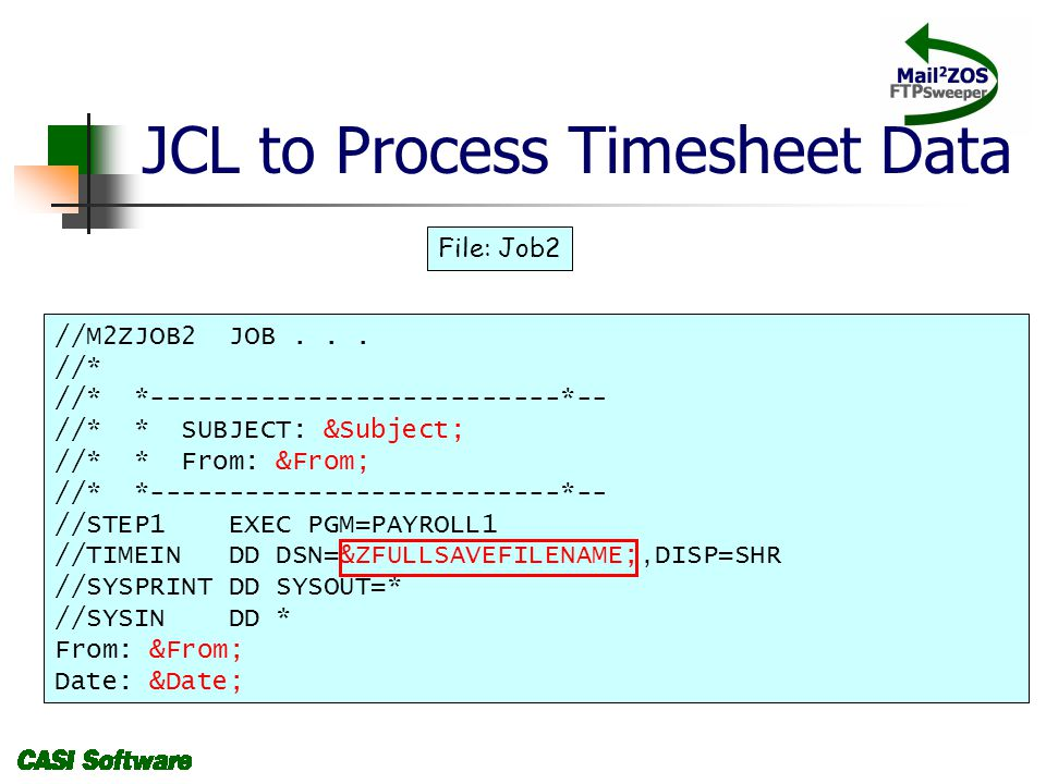JCL to Process Timesheet Data //M2ZJOB2 JOB...
