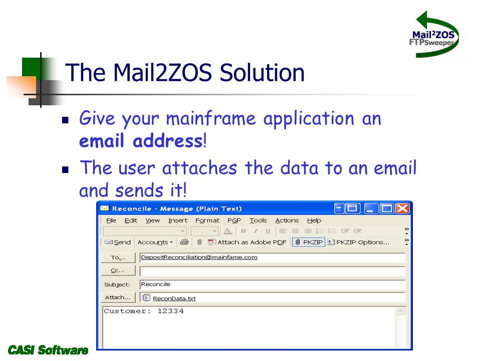 The Mail2ZOS Solution Give your mainframe application an email address.