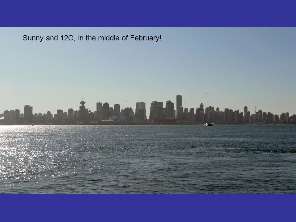 Sunny and 12C, in the middle of February!