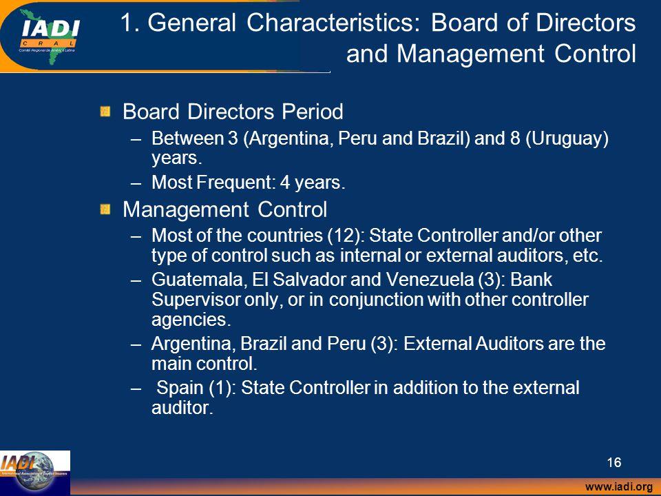 www.iadi.org 16 1. General Characteristics: Board of Directors and Management Control Board Directors Period –Between 3 (Argentina, Peru and Brazil) a
