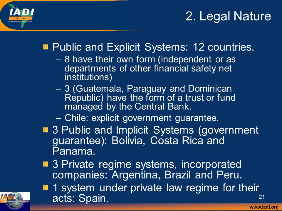 www.iadi.org 21 2. Legal Nature Public and Explicit Systems: 12 countries.