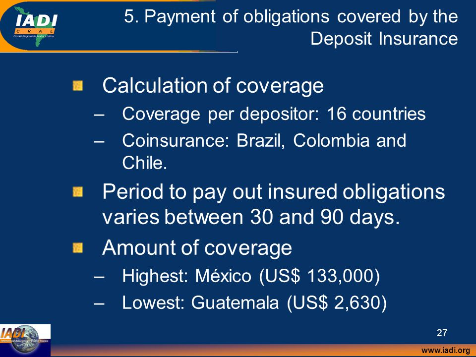 www.iadi.org 27 5. Payment of obligations covered by the Deposit Insurance Calculation of coverage –Coverage per depositor: 16 countries –Coinsurance: