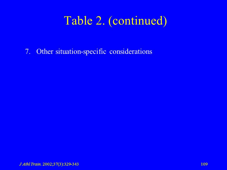 J Athl Train. 2002;37(3):329-343109 Table 2. (continued) 7.Other situation-specific considerations