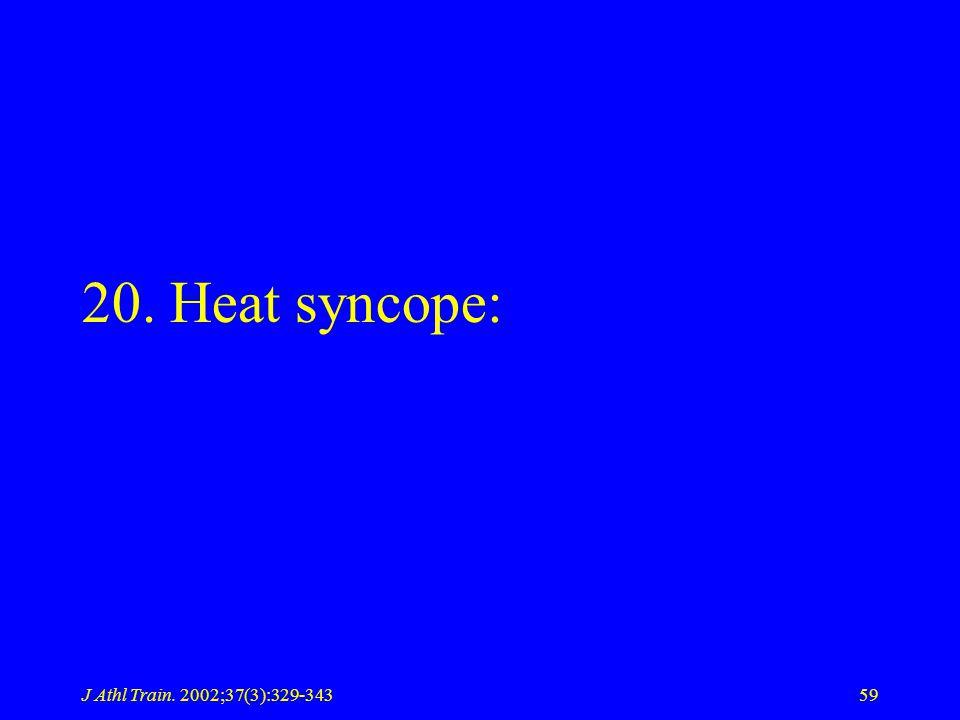 J Athl Train. 2002;37(3):329-34359 20. Heat syncope: