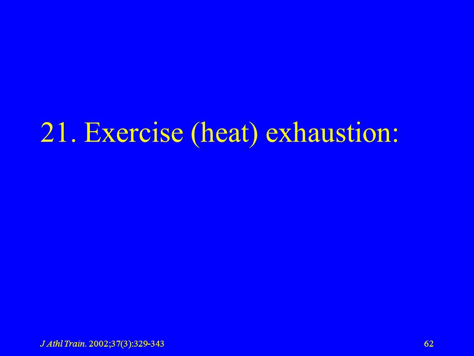 J Athl Train. 2002;37(3):329-34362 21. Exercise (heat) exhaustion: