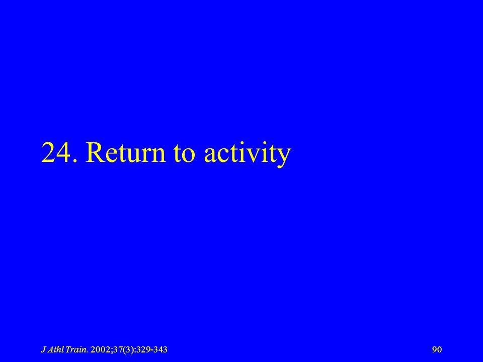 J Athl Train. 2002;37(3):329-34390 24. Return to activity