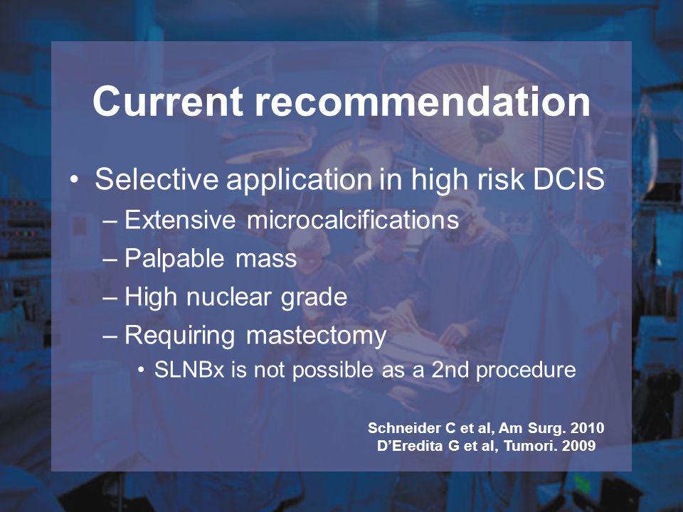Pre-op core biopsy : DCIS 170 SLN Failed 8 (5%) SLN Successful 162 (95%) F.S.
