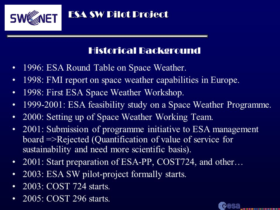 ESA SW Pilot Project Historical Background 1996: ESA Round Table on Space Weather. 1998: FMI report on space weather capabilities in Europe. 1998: Fir