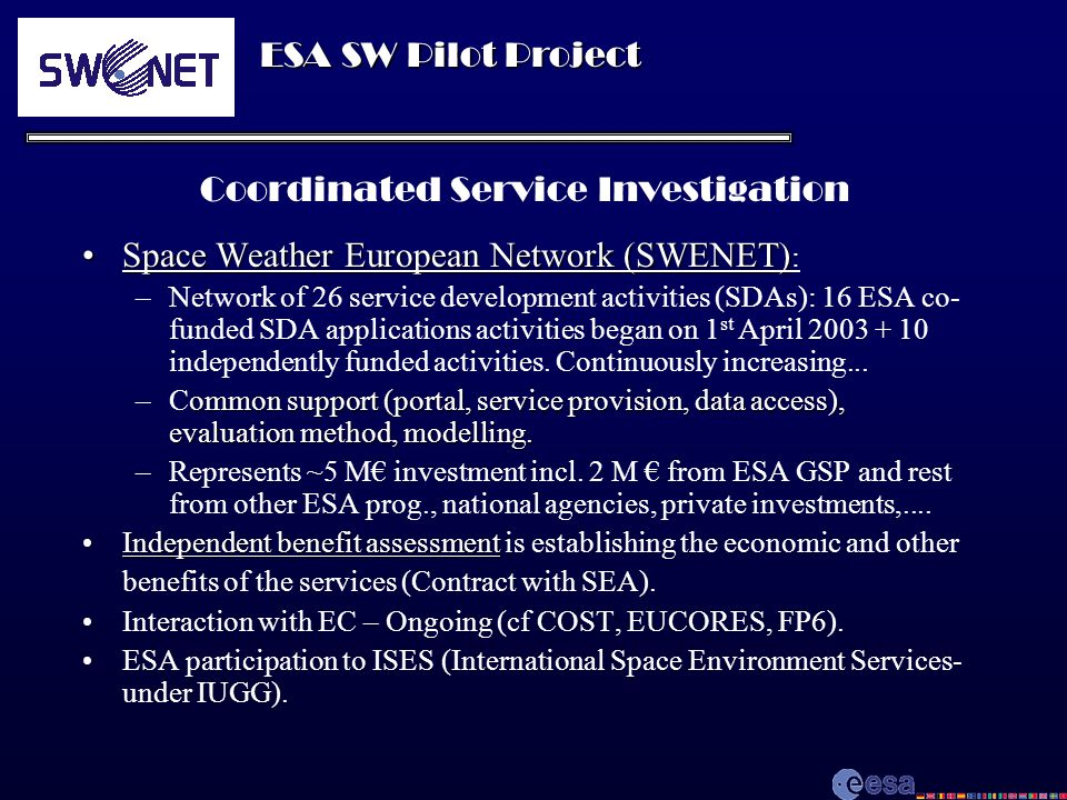 ESA SW Pilot Project SWENET as a sample for study Co-funding (approx.