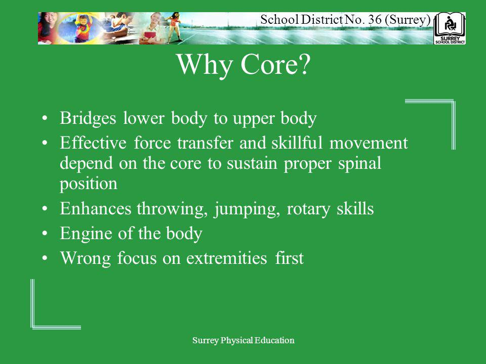 School District No. 36 (Surrey) Surrey Physical Education Why Core? Bridges lower body to upper body Effective force transfer and skillful movement de