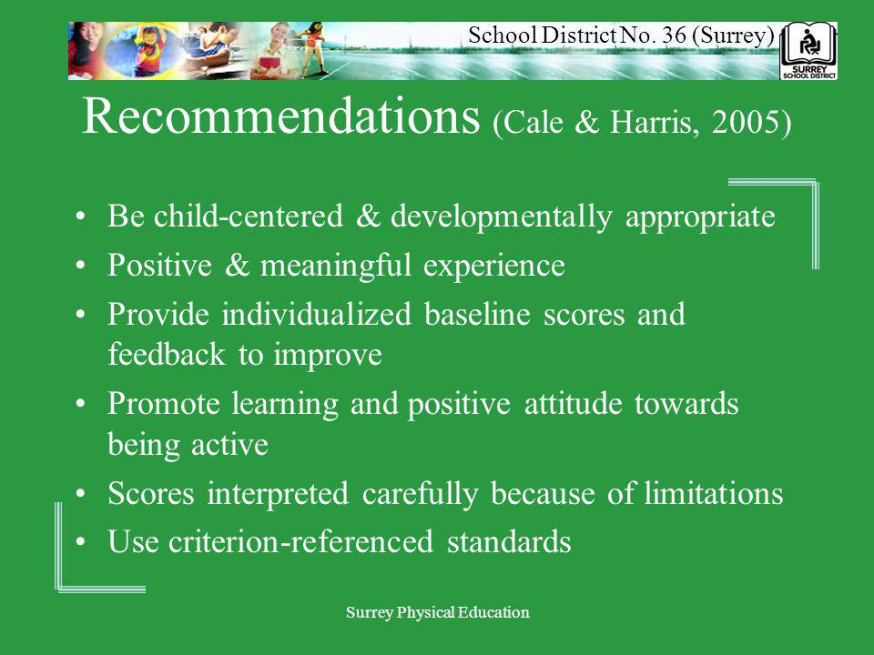 School District No. 36 (Surrey) Surrey Physical Education Recommendations (Cale & Harris, 2005) Be child-centered & developmentally appropriate Positi