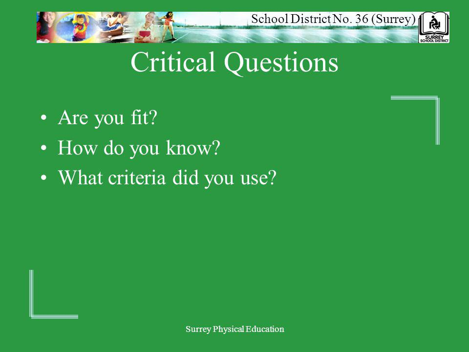 School District No. 36 (Surrey) Surrey Physical Education Critical Questions Are you fit? How do you know? What criteria did you use?