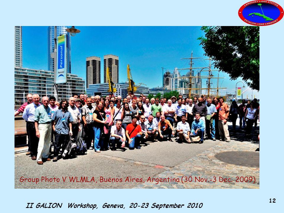 II GALION Workshop, Geneva, 20-23 September 2010 12 Group Photo V WLMLA, Buenos Aires, Argentina (30 Nov.-3 Dec.