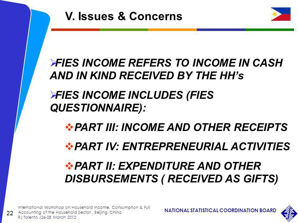 NATIONAL STATISTICAL COORDINATION BOARD International Workshop on Household Income, Consumption & Full Accounting of the Household Sector, Beijing, China RJ Talento /26-28 March 2012 22 FIES INCOME REFERS TO INCOME IN CASH AND IN KIND RECEIVED BY THE HHs FIES INCOME INCLUDES (FIES QUESTIONNAIRE): PART III: INCOME AND OTHER RECEIPTS PART IV: ENTREPRENEURIAL ACTIVITIES PART II: EXPENDITURE AND OTHER DISBURSEMENTS ( RECEIVED AS GIFTS) V.