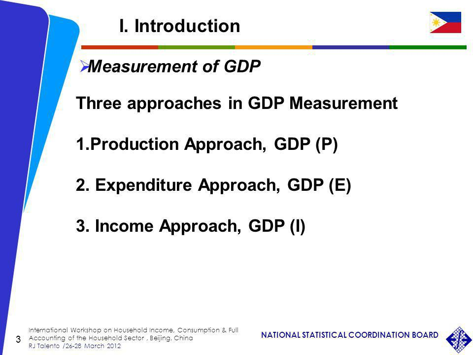 NATIONAL STATISTICAL COORDINATION BOARD International Workshop on Household Income, Consumption & Full Accounting of the Household Sector, Beijing, China RJ Talento /26-28 March 2012 3 Measurement of GDP Three approaches in GDP Measurement 1.Production Approach, GDP (P) 2.