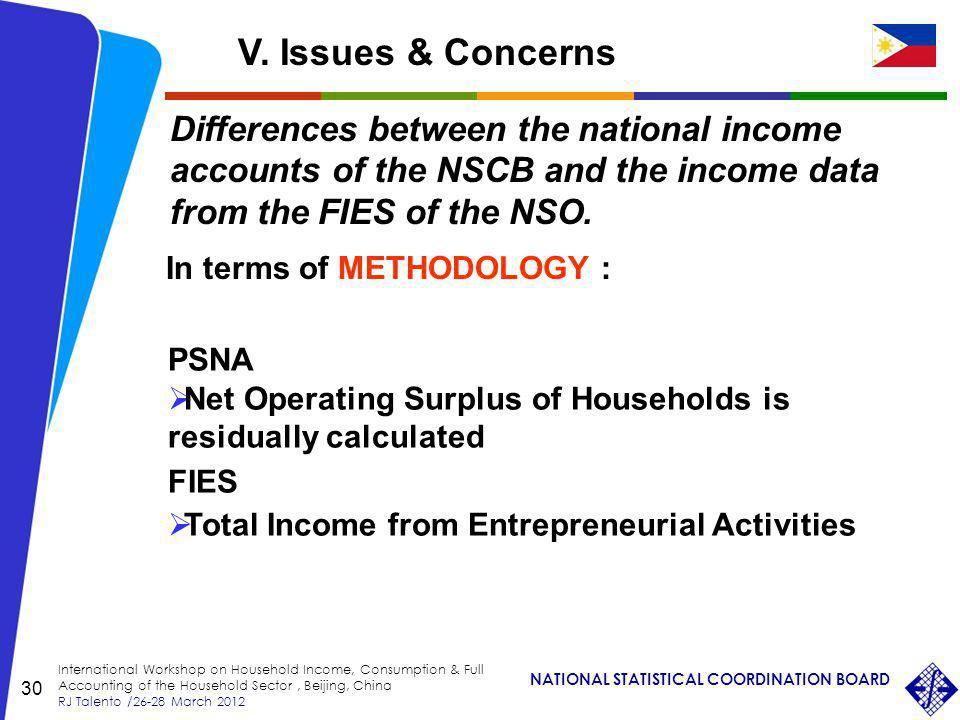 NATIONAL STATISTICAL COORDINATION BOARD International Workshop on Household Income, Consumption & Full Accounting of the Household Sector, Beijing, China RJ Talento /26-28 March 2012 30 Differences between the national income accounts of the NSCB and the income data from the FIES of the NSO.