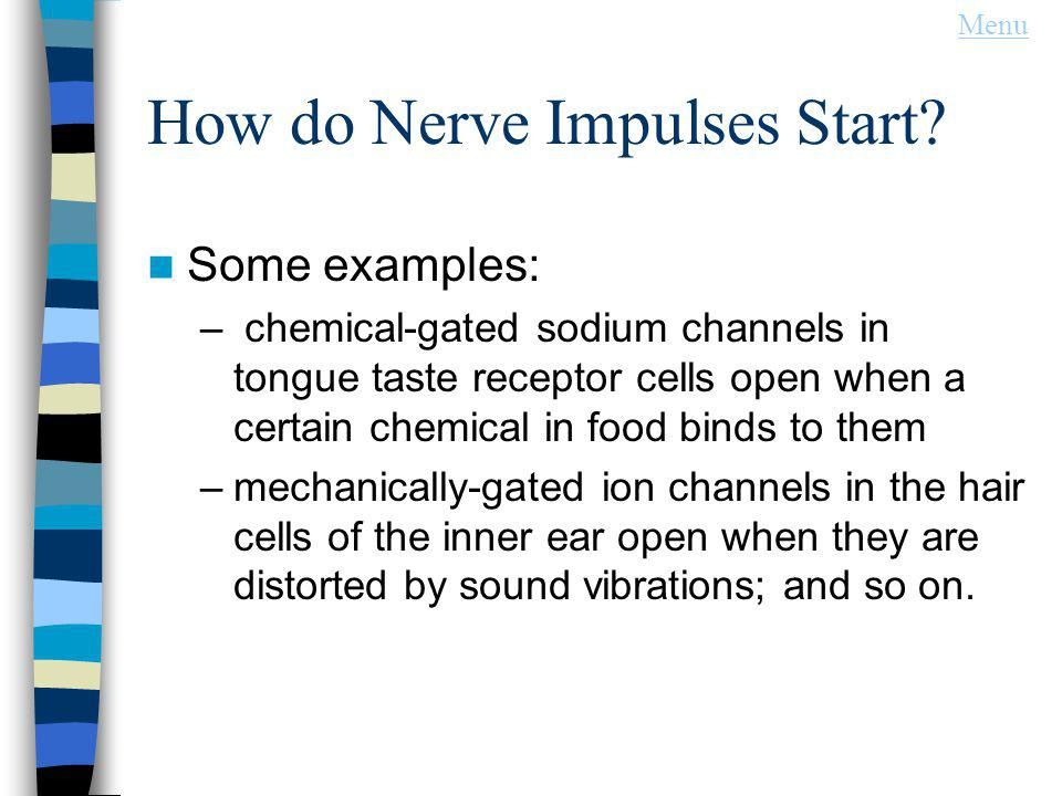 How do Nerve Impulses Start? Some examples: – chemical-gated sodium channels in tongue taste receptor cells open when a certain chemical in food binds