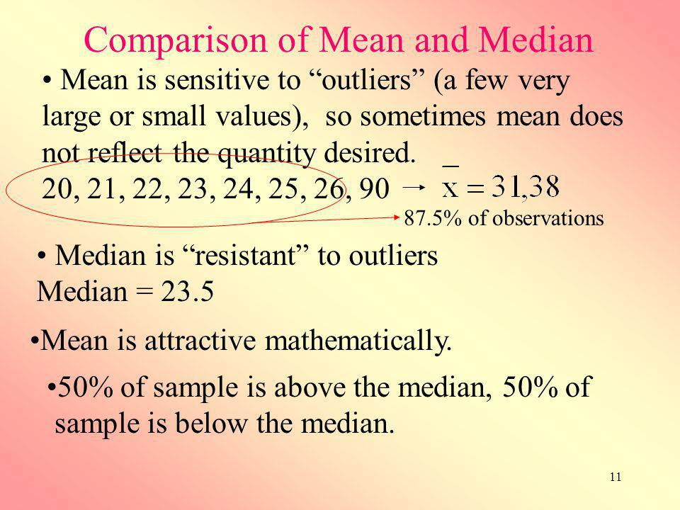 11 Comparison of Mean and Median Mean is sensitive to outliers (a few very large or small values), so sometimes mean does not reflect the quantity des