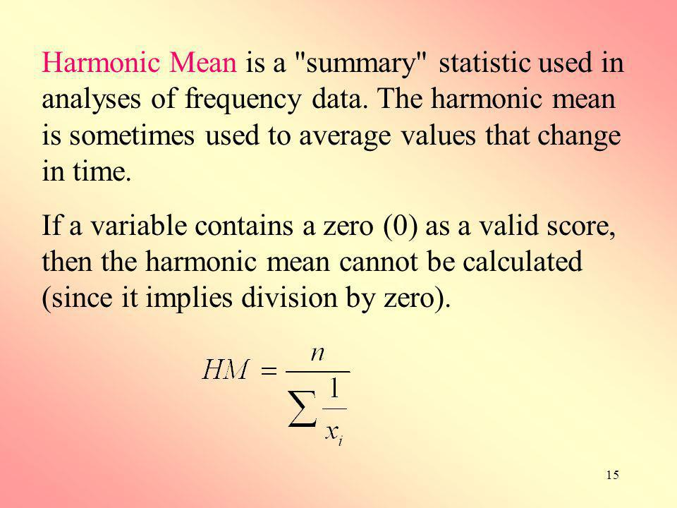 15 Harmonic Mean is a