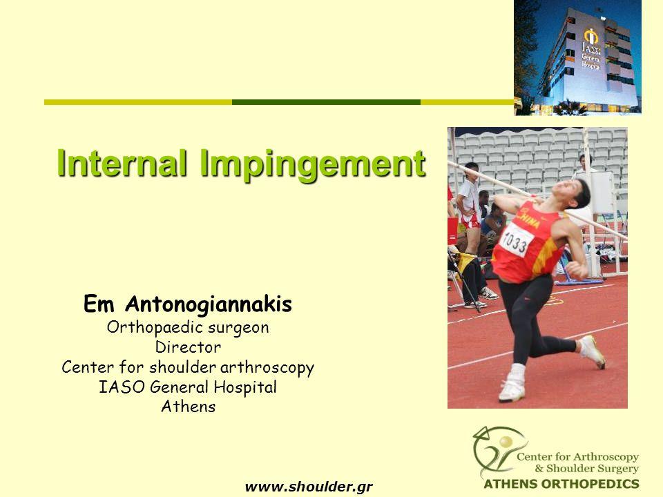 Internal Impingement www.shoulder.gr Em Antonogiannakis Orthopaedic surgeon Director Center for shoulder arthroscopy IASO General Hospital Athens