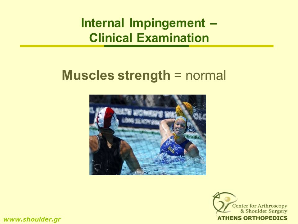 Muscles strength = normal www.shoulder.gr Internal Impingement – Clinical Examination