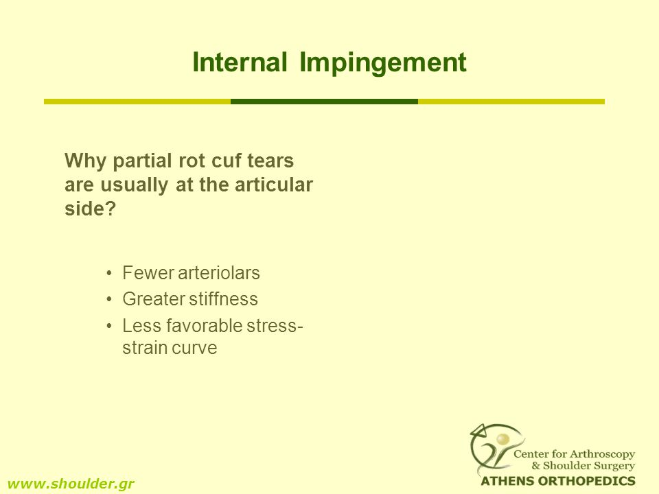 Internal Impingement Why partial rot cuf tears are usually at the articular side? Fewer arteriolars Greater stiffness Less favorable stress- strain cu