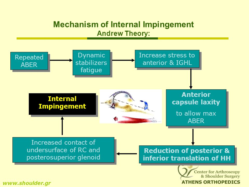 Mechanism of Internal Impingement Andrew Theory: www.shoulder.gr Repeated ABER Dynamic stabilizers fatigue Increase stress to anterior & IGHL Anterior