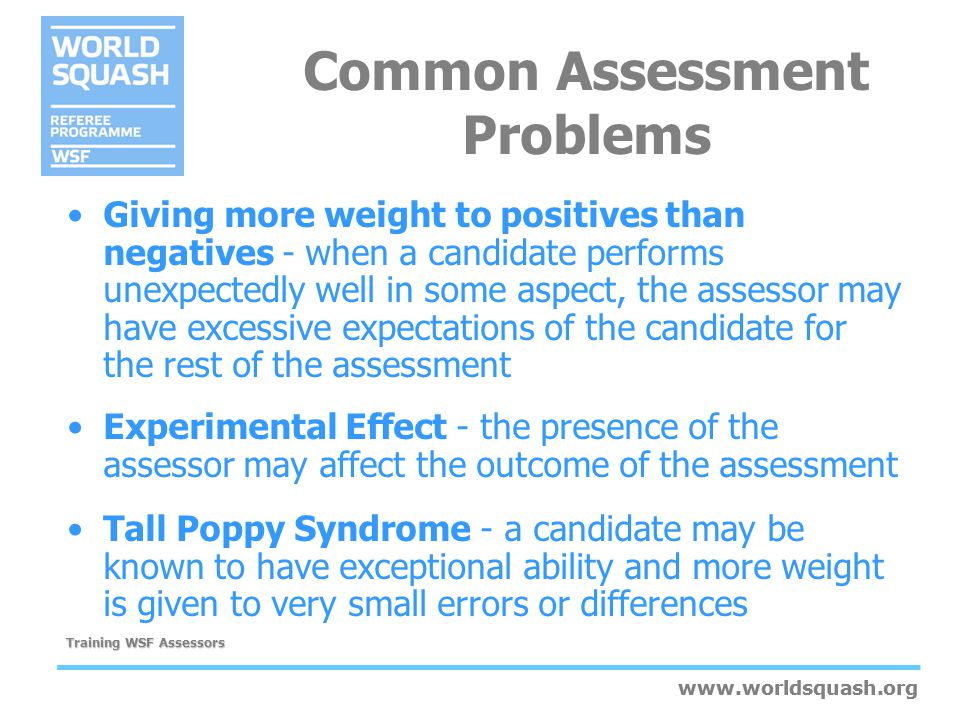 www.worldsquash.org Training WSF Assessors www.worldsquash.org Giving more weight to positives than negatives - when a candidate performs unexpectedly