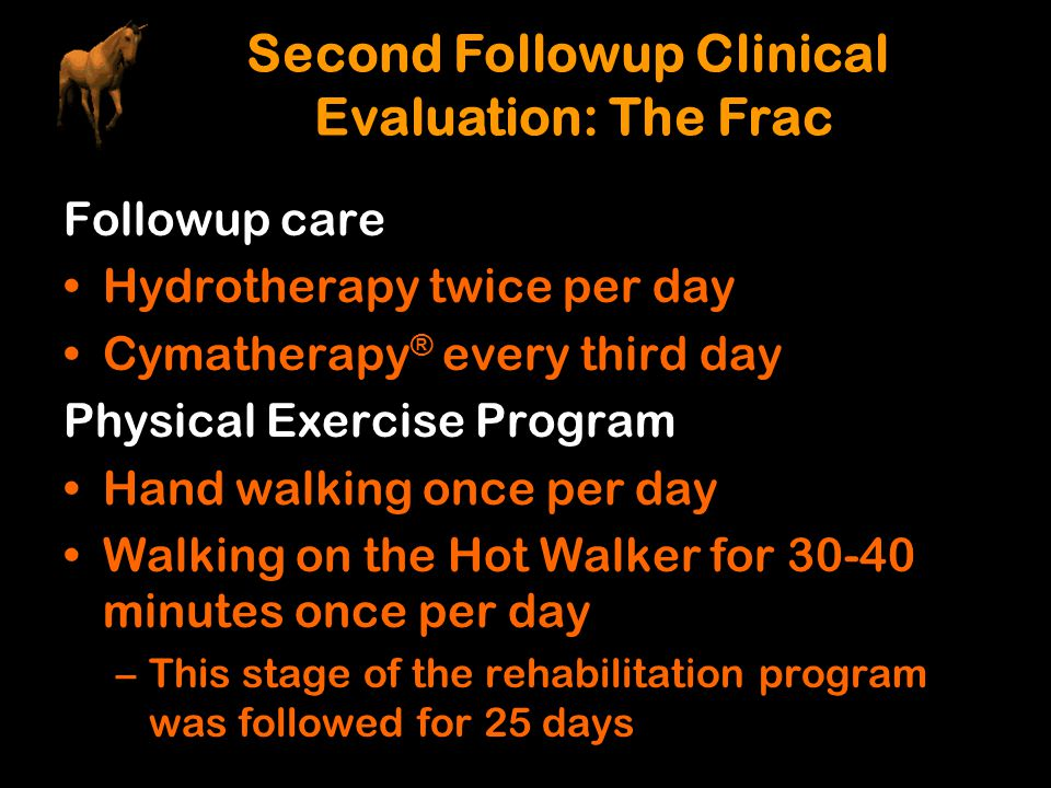 Followup care Hydrotherapy twice per day Cymatherapy ® every third day Physical Exercise Program Hand walking once per day Walking on the Hot Walker f