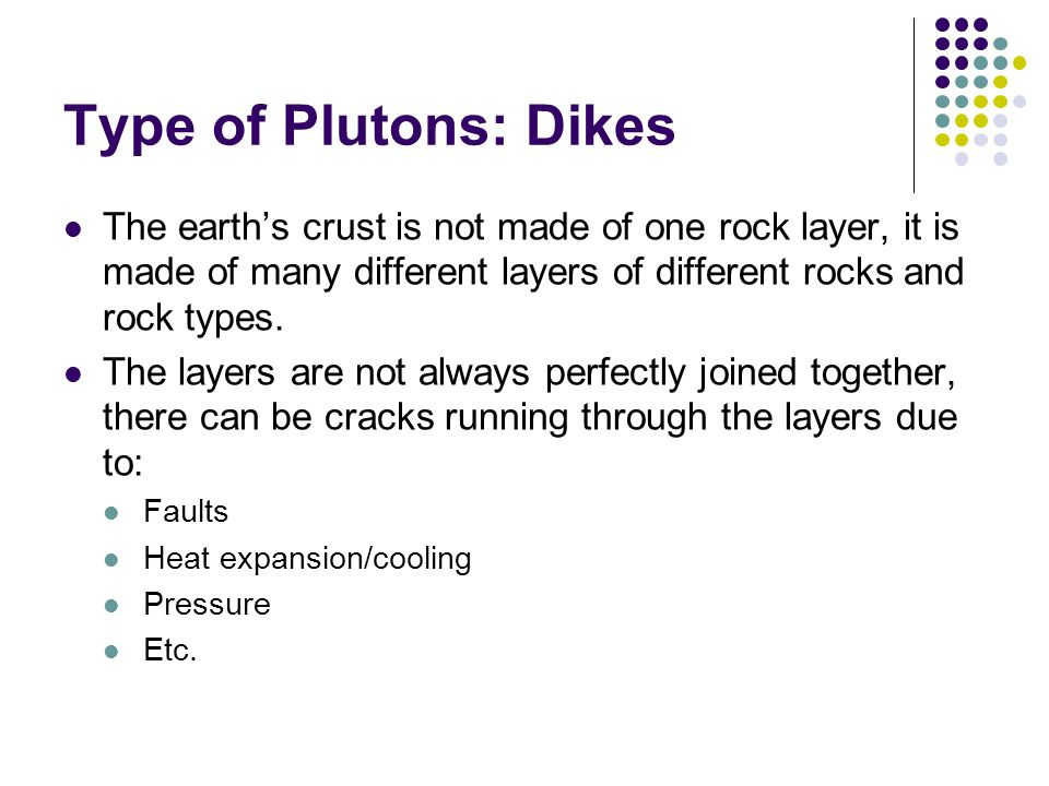 Type of Plutons: Dikes The earths crust is not made of one rock layer, it is made of many different layers of different rocks and rock types. The laye