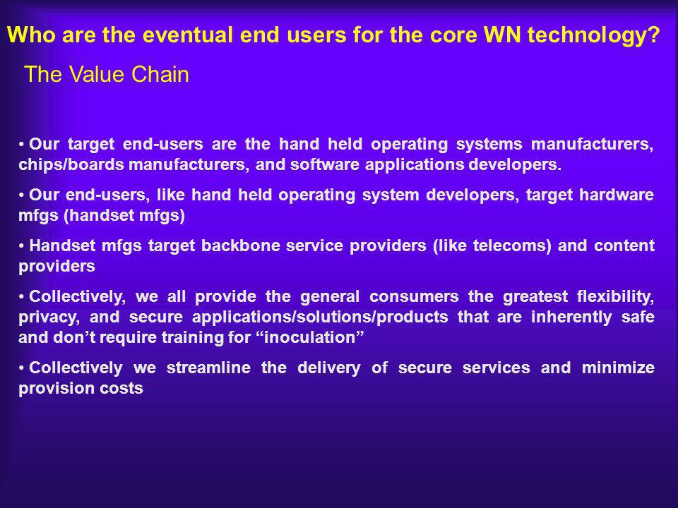 Who are the eventual end users for the core WN technology.