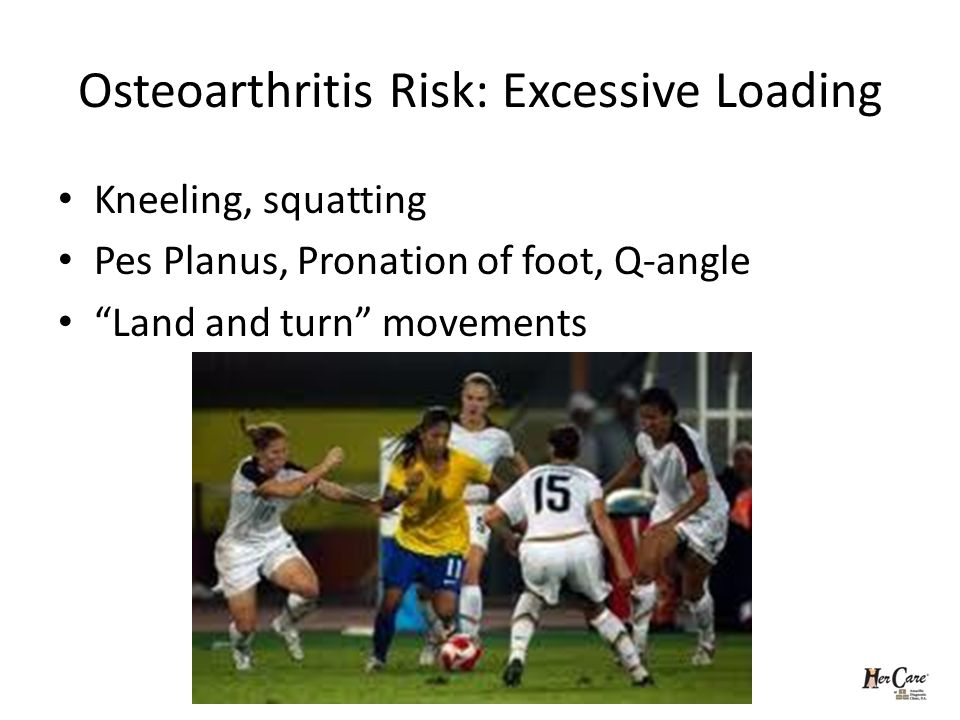 Osteoarthritis Risk: Excessive Loading Kneeling, squatting Pes Planus, Pronation of foot, Q-angle Land and turn movements
