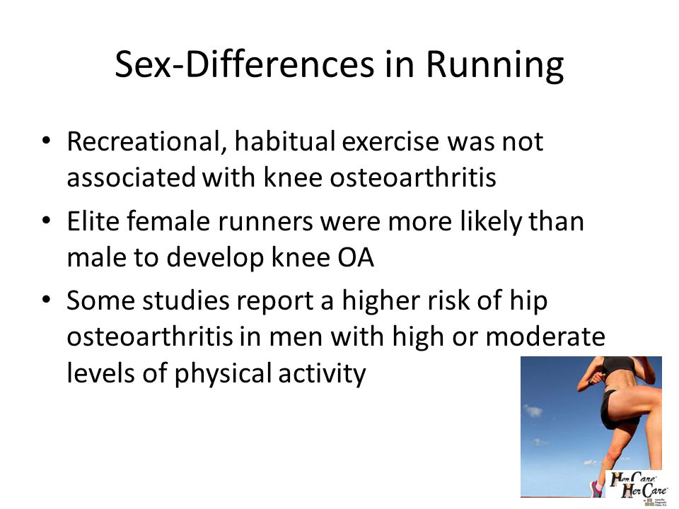 Sex-Differences in Running Recreational, habitual exercise was not associated with knee osteoarthritis Elite female runners were more likely than male to develop knee OA Some studies report a higher risk of hip osteoarthritis in men with high or moderate levels of physical activity