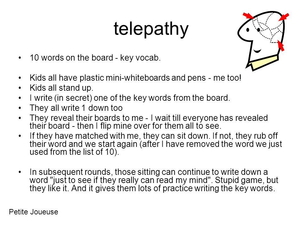 telepathy 10 words on the board - key vocab.