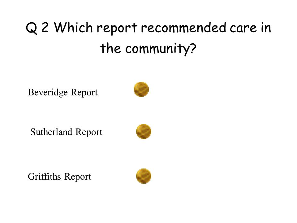 Q 2 Which report recommended care in the community.